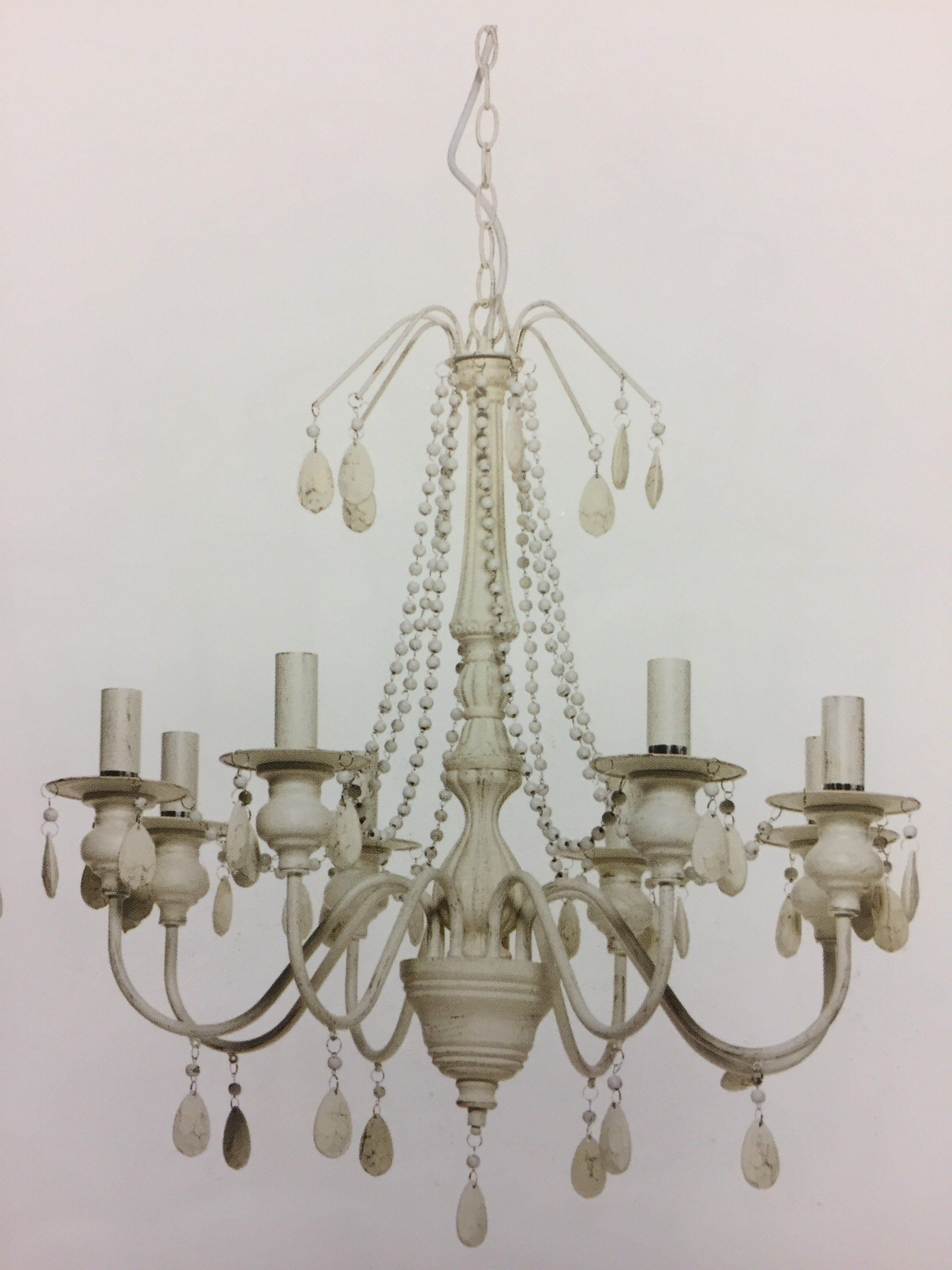 Lampadario in ferro e legno con 8 lumi leggermente invecchiato con pendenti e gocce