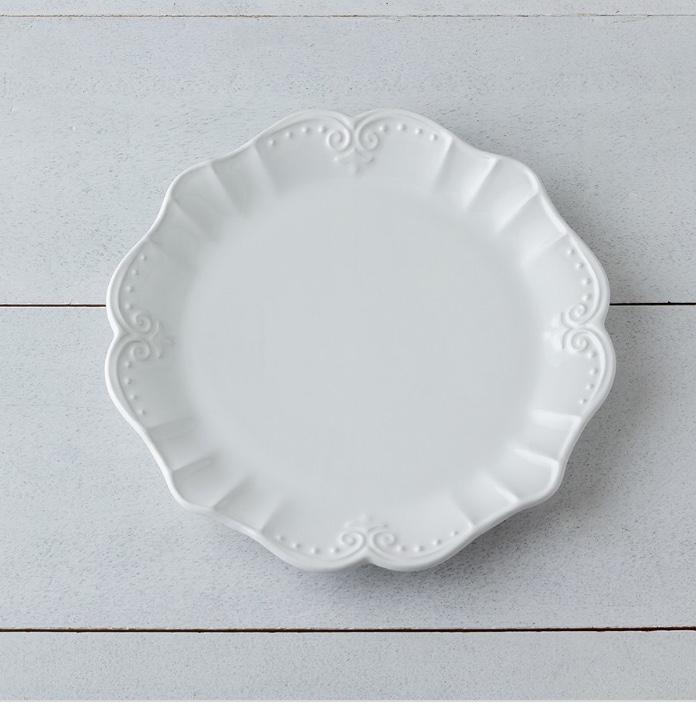 Piatto piano in gres porcellanato colore bianco