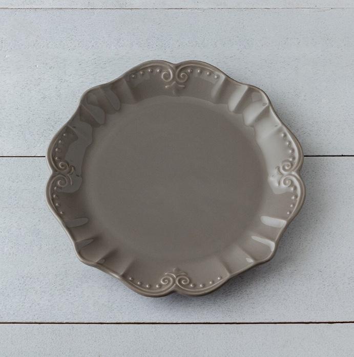 Piatto piano in gres porcellanato colore tortora