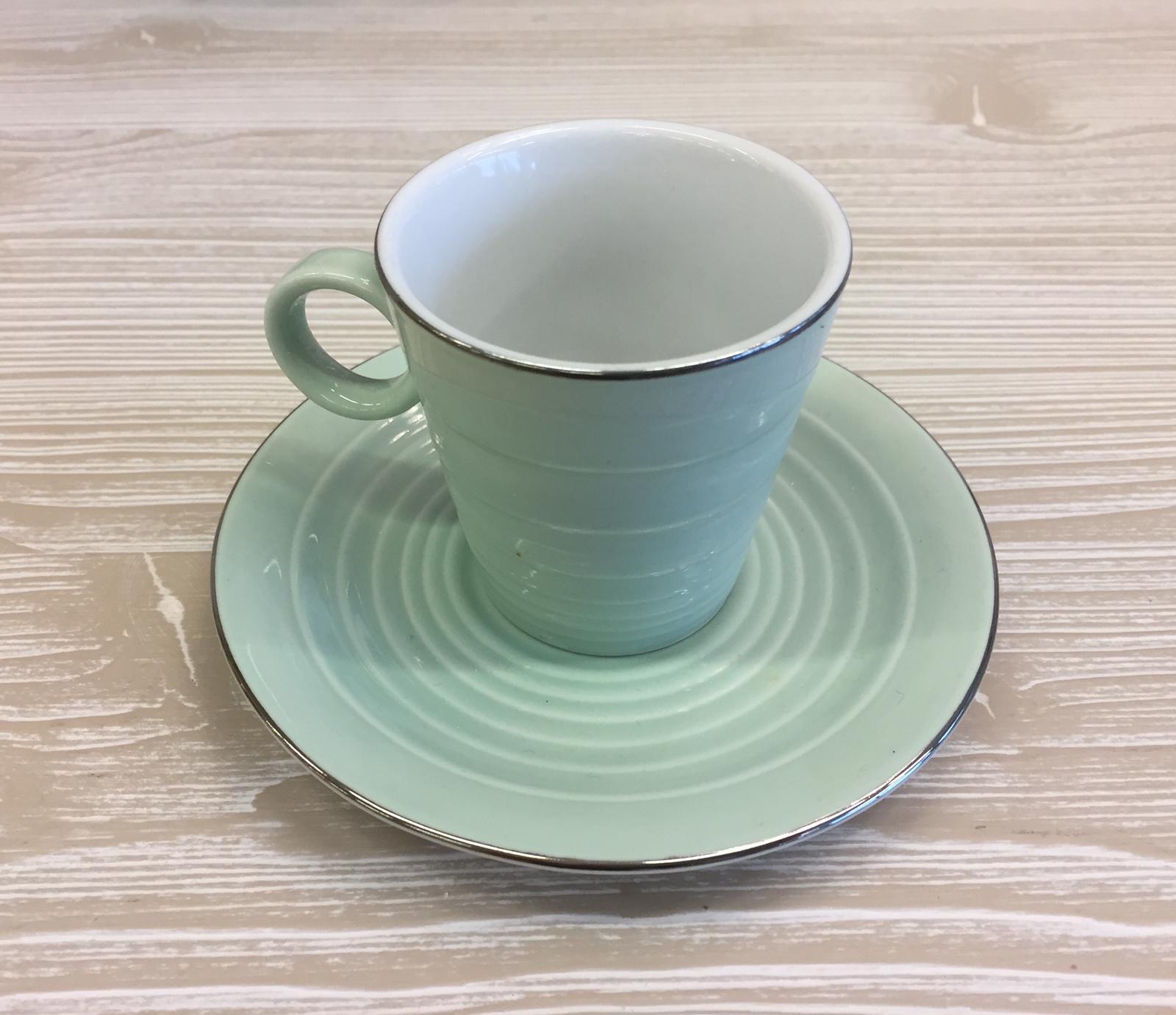 Set di 2 tazzine e 2 piattini verde menta